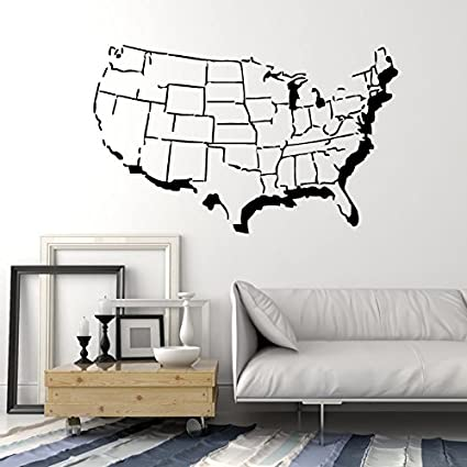 United States Map Wall Mural.Amazon Com United States Of America Usa Map With States Outline
