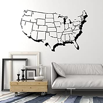 united states of america usa map with states outline design wall mural vinyl decal sticker