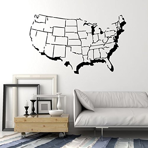 United States of America USA Map with States Outline Design