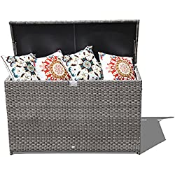 Orange Casual Patio Aluminum Frame Resin Wicker Storage Bin Deck Box 140-Gal (Grey)