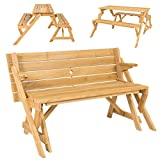 2 in 1 Outdoor Interchangeable Picnic Table / Garden Bench Wood Patio Convertabl --P#EWT43 65234R3FA464969