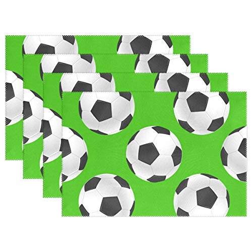 Top Carpenter 4pcs Soccer's Ball Placemat - 12x18in - Washable Heat Crease Resistant Printed Place Mat for Kitchen Dinner Table by Top Carpenter