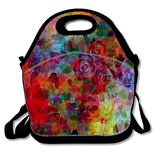 Rose-colored Glasses Bold Rainbow Floral Multicolor Flower Garden Abstract Neoprene Reusable Insulated Lunch Tote Bag School Picnic Thermal Carrying Gourmet Lunchbox Container