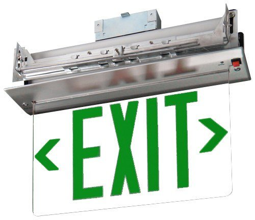 Recessed Green Edge Lit Exit Sign - Single Sided