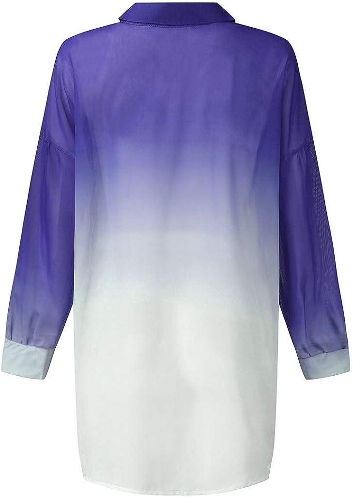 Pandaie Womens Long Sleeve Tops,Women Casual Gradient Shirt Irregular Blouses Button Loose Tunic Top