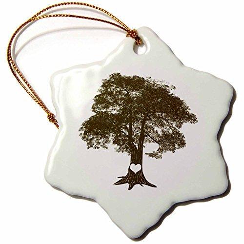 Christmas Ornament Janna Salak Designs Love - Heart Carved Oak Tree - Snowflake Porcelain - Finials Carved Oak