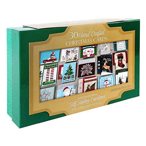 Embellished & Hand Crafted Holiday Christmas Card & Self Seal Envelope/Seals Assortment in Keepsake Box - 30 ct.