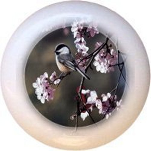Black-capped Chickadee and Plum Blossoms Bird Decorative Glossy Ceramic Drawer Pull Knob
