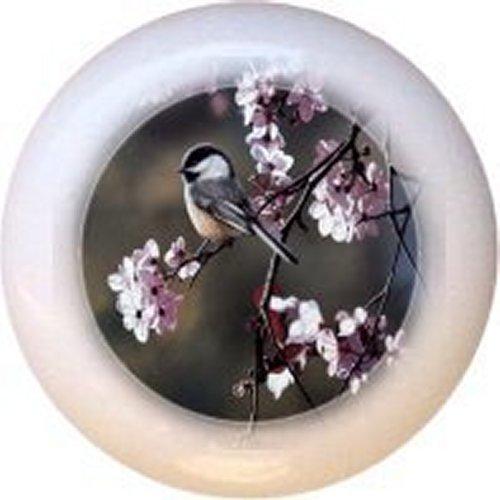 (Black-capped Chickadee and Plum Blossoms Bird Decorative Glossy Ceramic Drawer Pull Knob)