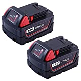 Replace 18V Battery for Milwaukee M18 4.0Ah 48-11-1850 Drill REDLITHIUM XC 48-11-1815 48-11-1820 48-11-1828 48-11-1840 Cordless Tool-2packs