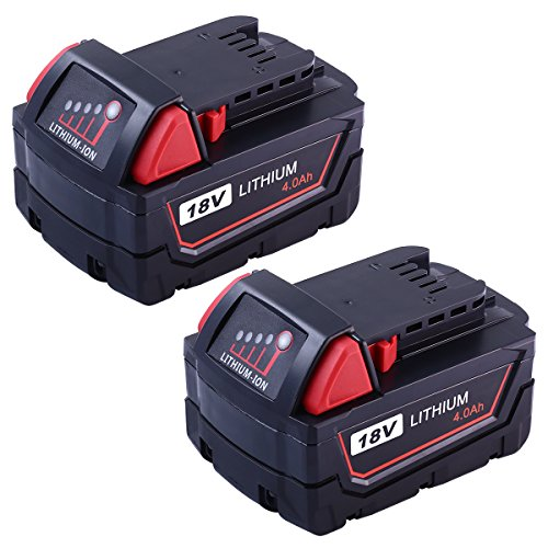 Replace 18V Battery for Milwaukee M18 4.0Ah 48-11-1850 Drill REDLITHIUM XC 48-11-1815 48-11-1820 48-11-1828 48-11-1840 Cordless Tool-2packs by Reoben