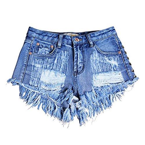 LAEMILIA Coton Haute Et Creux Sexy Jean Court Pantalon Femme Mini Rivet Bleu Taille Dchir Short Trou UrqaUBnw