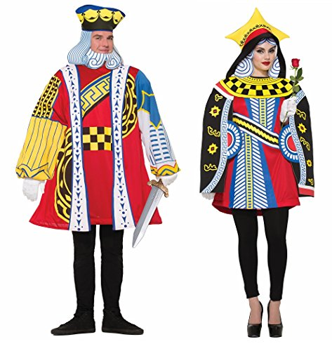 [Adult King and Queen of Hearts Playing Card Couples Costumes - Mardi Gras] (King Of Hearts Costumes For Adults)