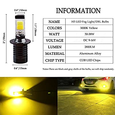 H3 LED Fog Lights Bulb Yellow Amber Gold Golden 3000K for Trucks Cars Lamps Kit Plug Error Free All in One High Power Replacement Bulbs 12V 30W 2800LM Super Bright COB Chips 1 Year Warranty【1797】: Automotive