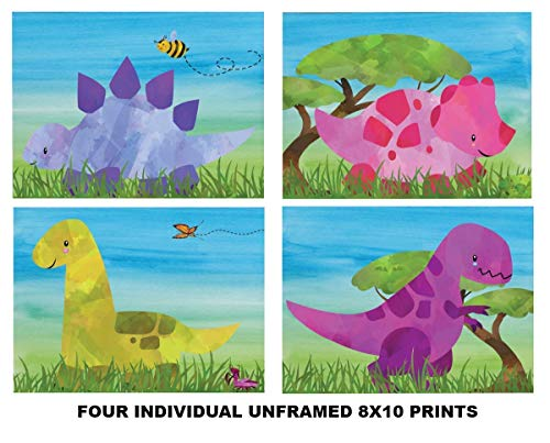 (Four - Individual Dinosuar Art Prints - 8x10 Unframed Photo Prints - Fun Gift For Your Favorite Dino Lover. Will Look Great in a Boy or Girl Room, Nursery or Daycare Decor - Gift Under $20)