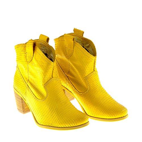 Felmini Zapatos Para Mujer - Enamorarse com Vegas 7487 - Botas Cowboy & Biker - Cuero Genuino - Amarillo Amarillo