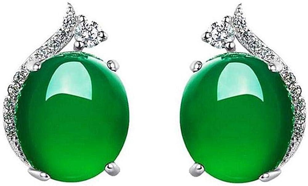 Vintage 925 pendientes de plata esterlina hembra calcedonia verde ágata roja pendientes de piedras preciosas pendientes pendientes hipoalergénicos
