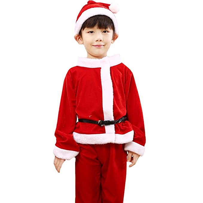 4446c6348 DREAMOWL Baby Boys Girls Christmas Santa Claus Costume Dress with Shawl Hat  Xmas Outfits (Boy