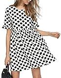 Romwe Women's Comfy Swing Tunic Short Sleeve Smock Polka Dot Loose Dress Black&White M