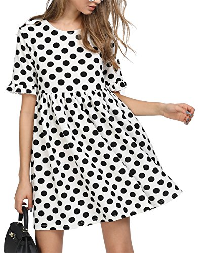 Romwe Women's Comfy Swing Tunic Short Sleeve Smock Polka Dot Loose Dress Black&White S