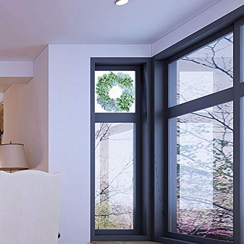 - YOLIYANA Stained Glass Window Film,Succulent,for Bathroom Shower Door Heat Cotrol Anti UV,Watercolor Succulent Wreath Circular Design Bridal Wedding Theme,17''x24''