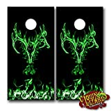 corn bags for hunting - CL0046 Flaming Buck Skull Green CORNHOLE LAMINATED DECAL WRAP SET Decals Board Boards Vinyl Sticker Stickers Bean Bag Game Wraps Vinyl Graphic Image Corn Hole Deer Hunter Hunting Browning
