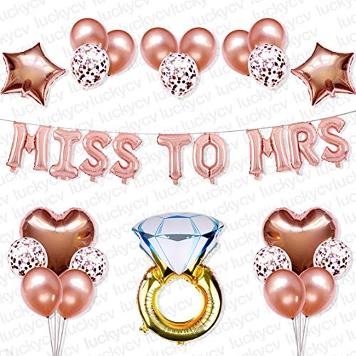 Bachelorette Party Decorations Kit | Bridal Shower Supplies | Birthday Party Balloons | Miss to Mrs Balloon Banner, Giant Diamond Ring, Heart and Star Balloons, Rose Gold Balloons, Confetti Balloons |