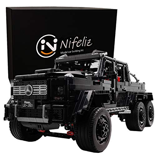 Nifeliz Black Pickup G63 6X6 MOC Building Blocks and Engineering Toy, Adult Collectible Model Cars Kits to Build, 1:8 Scale Truck Model (3300 Pieces) (Pick Up Technics)