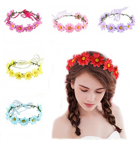emian Boho Sunflower Daisy Flower Floral Crown Headband Garden Summer Travel Party Wedding Beach Garland Hair Band for Women Girls ()