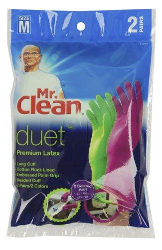 Mr. Clean 243093 Duet Reusable Latex Gloves, Medium, 2 Pairs/2 Colors>