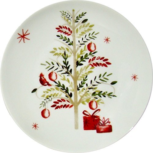 Holiday Appetizer Plates by 222 Fifth - Winter Cheer Pine Tree Snow Flakes White Party Set of 4 Porcelain Fine China 6.5 Inch -