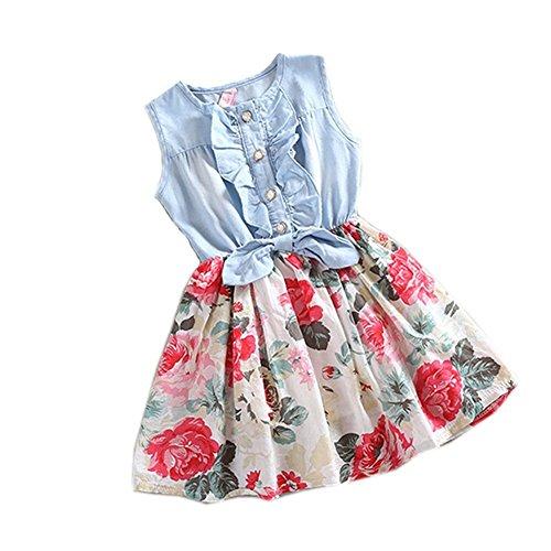 PanDaDa Girls Princess Dress Denim Skirts Bow Flower Ruffled Cute Sundress 2...