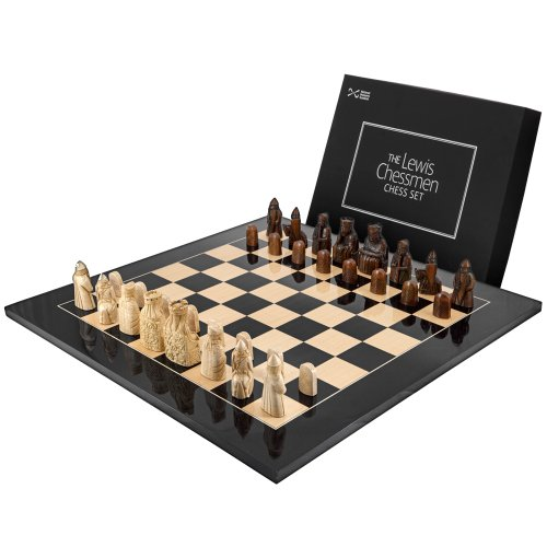 The Isle Of Lewis Black Gloss Chess (Celtic Chess Board)
