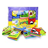 FJTANG Baby Toys 0-12 Months Intelligence Development Cloth Book Soft Rattles Unfolding Activity Books Cute Animals Kids Toys pack of 6pcs