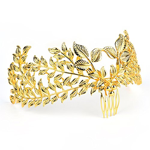 VITORIA'S GIFT Baroco Princess Crown Hair Comb with Leaf Shape for Wedding Party -