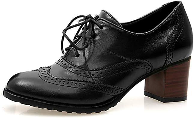 Zapato Tacon Mujer Brogues Oxford Cuero Plataforma Zapatos de Cordones Señoras Talones 6cm Vintage Casual Trabajo Elegante Negro Marrón Beige 34-43: Amazon.es: Zapatos y complementos
