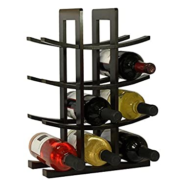 DisplayGifts Free Standing 12-Bottle Bamboo Wine Rack Storage Stand (Black)WR006