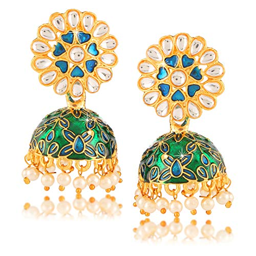 Exclusive Design Latest Meenakari Workmanship Indian BollyWood Stylish Gold Plated Traditional Party ware Ethnic Jhumka/Jhumki Earrings Indian Traditional Jewelry for Women From Yellow Chimes