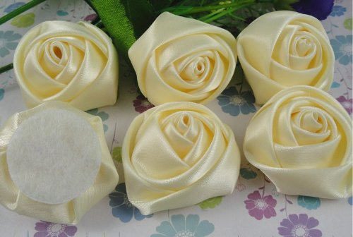 15pcs Big Satin Ribbon Rose Flower DIY Craft Wedding Appliques Lots Ivory