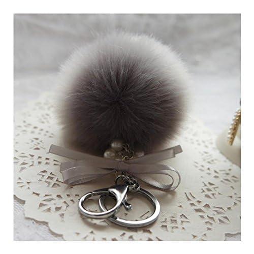 Porte-clés Balle, Yistu Mode Artificiel Fourrure de lapin Balle Porte-clés Sac Peluche Voiture Porte-clés Pendentif clé de Voiture (Gris)