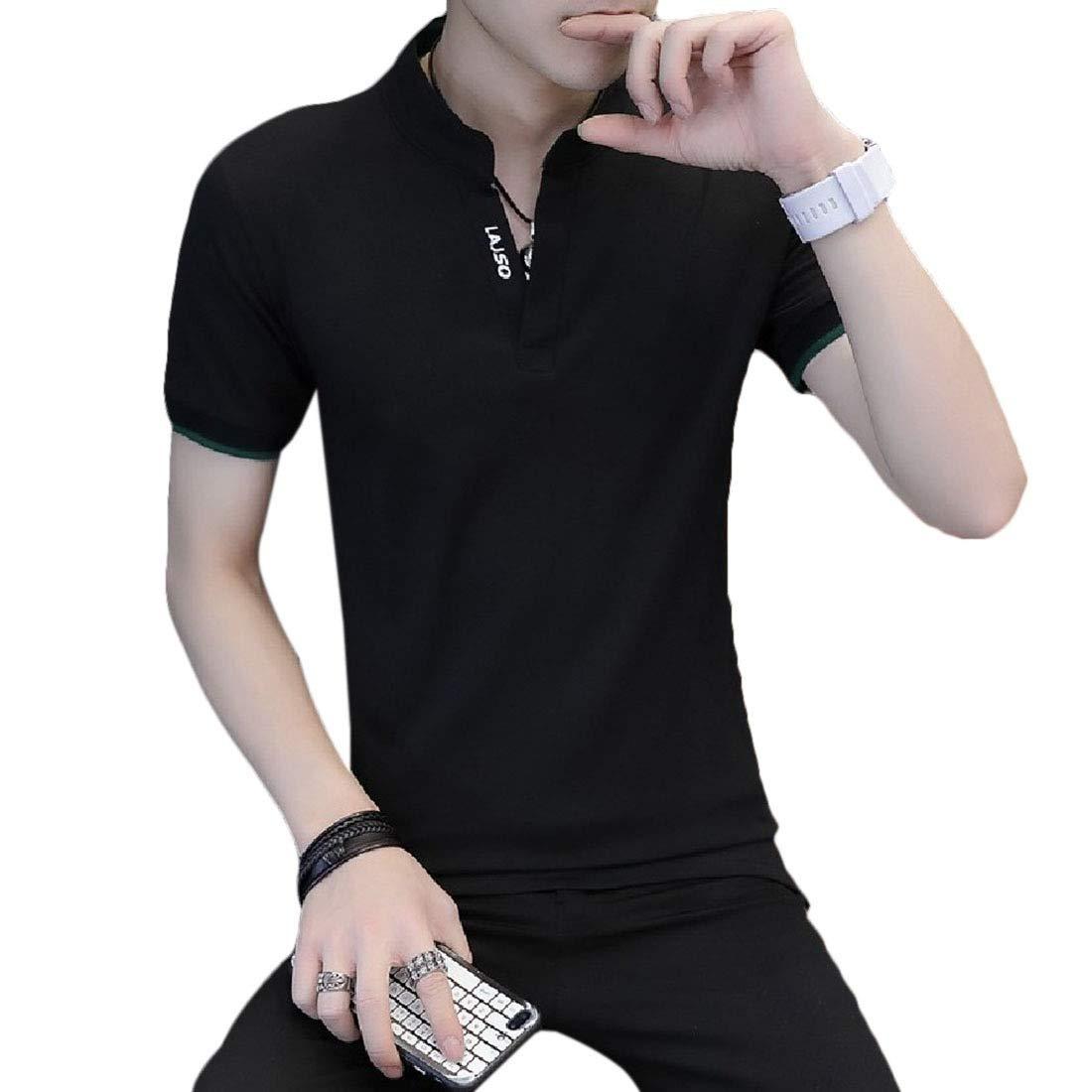 Losait Mens Skinny Polo-Collar Short-Sleeve Business Print Tunic Shirt
