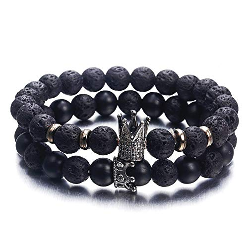YASEF Bracelet Personality Black White Volcanic Stone Beaded Bracelets Antique Gold Crown Charm Bracelet for Women Men Jewelry Lover Gift