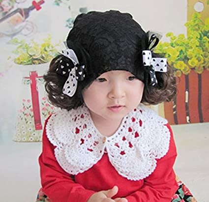 nette Schöne Lace Primavera Otoño Protección auditiva Baby peluca Gorro Chica doble trenzado Princess Tapa infantil