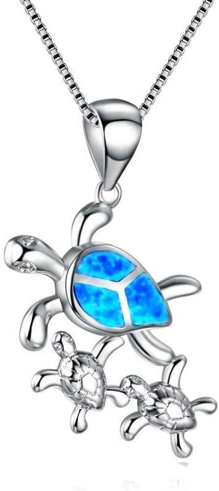 Plata Australiana Gemas ópalo joyería Tortuga Colgante Collar de Navidad Azul mar Piedra de Nacimiento para Regalo de Mujer