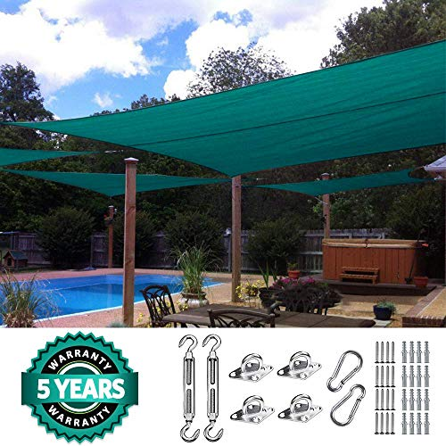 Quictent 20X16FT 185G HDPE Rectangle Sun Shade Sail Canopy 98 UV Block Outdoor Patio Garden with Free Hardware Kit Green