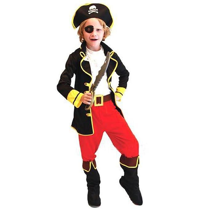 Odziezet Disfraz Capitán Pirata Niño Niña Trajes 6PCS Chaqueta+Pantalón Botas+Chaleco+Gorro+Parche de Ojo+Cinturón Halloween Carnaval Fiesta 4-12Años