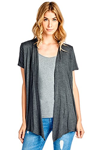 12 Ami Basic Solid Short Sleeve Open Front Cardigan Charcoal 2X,XX-Large