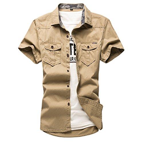 Pishon Men's Short Sleeve Shirt Cotton Flap Pockets Button Up Casual Dress Shirt, Khaki, Tag Size XXXL=US Size (Flap Pocket Shirt)