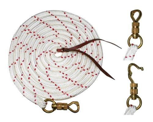 7 m Bodenarbeitsseil Weiss-rot Arbo-Inox/® Lederklatsche Westernrope mit Drehpanikhaken