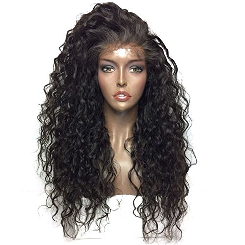 Lace Front Wigs Long Loose Curly Wigs For Black Women Afro Kinky Wigs Wave Hair Heat Synthetic Resistance Fiber Jet Black Wigs (Black and Brown)